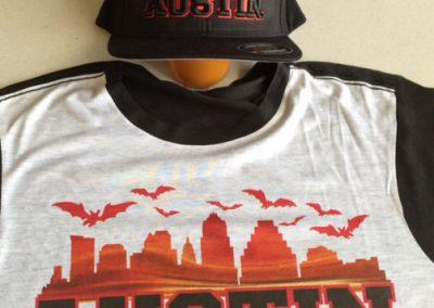 Custom Embroidered Cap and T-Shirt Austin Bats